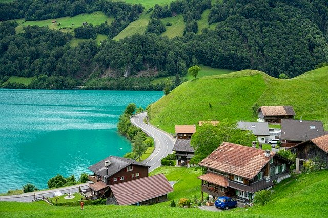 scenic lake in switzerland