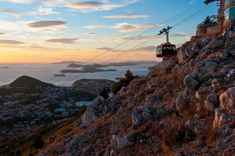 dubrovnik cable car at sunset